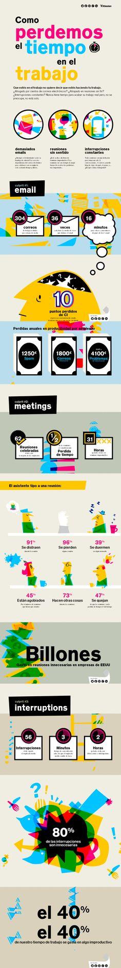 Cómo perdemos el tiempo en el trabajo #infografia #infographic #productividad