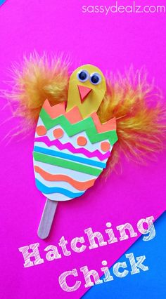 chick hatching craft  thinking to adapt into a puppet  - 2 sided egg to slide up and down stick