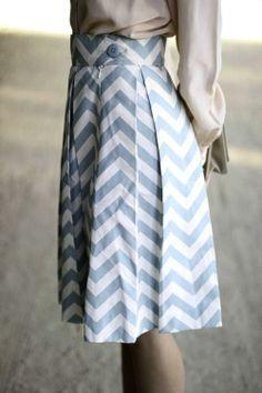 Sweet blue chevron skirt.