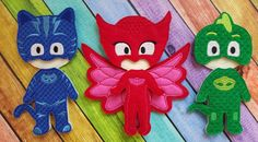 PJ Red Blue Green Felt Dress Up Mask Dolls by TreasuredForever