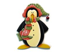 Penguin with Scarf and Hat Ornament, Handpainted Wood, Hand Painted Christmas Ornament, Tole Decorative Painting