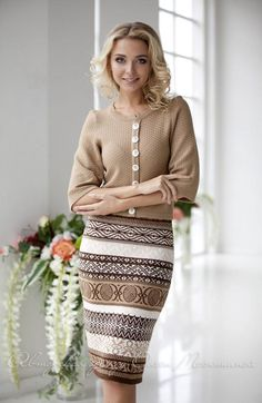 """Warm two-piece women suit """"Coffe"""" in beige and brown tones, consists of a classic jacket and jacquard skirts Girl Outfits, Casual Outfits, Fashion Outfits, Womens Fashion, Fashion Trends, Cute Outfits, Knit Dress, Dress Skirt, Knitted Swimsuit"""