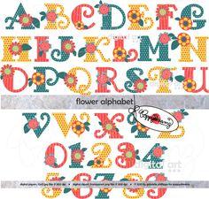 Flower Power Alphabet Clip Art Pack  Dpi Transparent Png