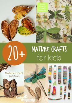 """Few ideas to make something after you have a """"Scavenger Hunt"""" nature walk! -- 20+ Nature Crafts for Kids #Funcrafts"""