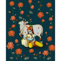 This is Pichwai Painting of Lord Krishna hand painted on cloth. Kerala Mural Painting, Cow Painting, Krishna Painting, Madhubani Painting, Hare Krishna, Krishna Art, Krishna Lila, Pichwai Paintings, Indian Art Paintings