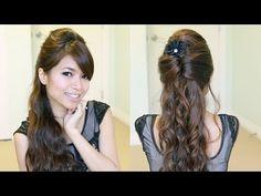 Elegant Prom Half-Updo Hairstyle | Curly Hair Tutorial