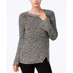 Bar Iii Bell-Sleeve Sweater, ($30) ❤ liked on Polyvore featuring tops, sweaters, black combo, flared sleeve top, bar iii tops, pullover sweaters, sweater pullover and bar iii