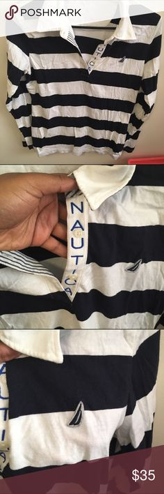 STRIPED NAUTICA SHIRT Gently warn NAUTICA, button up, long sleeve collared shirt. Very comfortable and in good condition. I am not certain of the size but I will try my best to estimate. Nautica Tops Tees - Long Sleeve