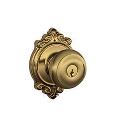 Schlage Georgian Antique Brass Round Residential Keyed Entry Door Knob
