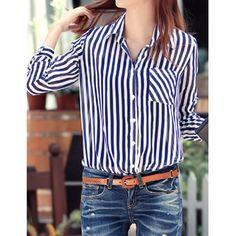 Sweet Turn-Down Collar Vertical Stripe Pocket Design Long Sleeve Women's Shirt