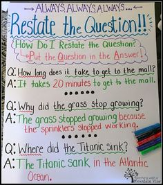Question Lesson Restating the Question Anchor Chart. Helps students visualize how to put the question in the answer!Restating the Question Anchor Chart. Helps students visualize how to put the question in the answer! 2nd Grade Ela, 3rd Grade Writing, Third Grade Reading, Fourth Grade, Grade 3, Second Grade, Guided Reading, Reading Logs, Reading Boards