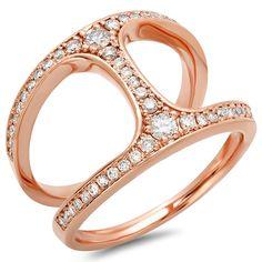 H Shape Double Band Diamond Ring on 14K Rose Gold