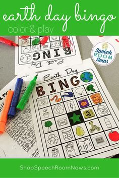 Earth Day black and white bingo. Color and play! This download includes 6 black and white BINGO boards with 24 Earth Day pictures and one set of calling cards. Perfect for speech therapy Earth Day