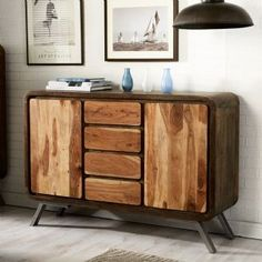 Aspen Industrial Reclaimed Iron And Wood Large Sideboard With Four Drawers And Two Doors