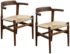 Ranger Mod Walnut Contemporary Set of 2 Accent Chairs - #EU5V244 - Euro Style Lighting