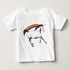 Unicorn with rainbow baby T-Shirt - tap, personalize, buy right now!