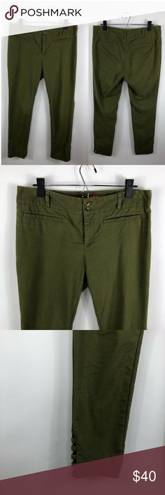 """Cartonnier Anthropologie Green Tilda Pants Cartonnier Anthropologie Olive Green Cutout Ankle Tilda Pants Size 10. Excellent condition.Waist is 17"""". Inseam is 27.5"""". Anthropologie Pants Ankle & Cropped"""
