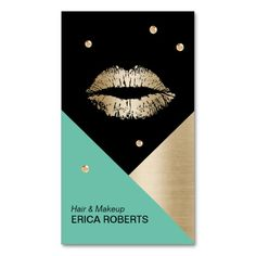 Makeup Artist Modern Lips Turquoise Gold & Black Business Card