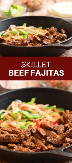 Skillet Beef Fajitas with sirloin, bell peppers, and onions marinated in lime and seasonings and seared to tender perfection. Serve with warm tortillas and your favorite fixings for an amazing Mexican feast! via @lalainespins