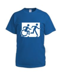 Accessible Means of Egress Icon (Running Man and Wheelie Man Right Hand) Wheelchair Exit Sign Design Sign Design, Cart, Cotton, Running Man, Exit Sign, Signs, Hall Runner, Dinner Plates, Sign