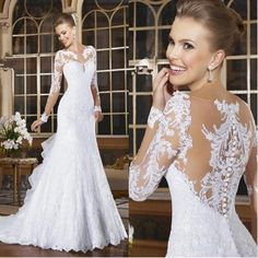 Online Shop Sexy Mermaid Wedding Dresses 2017 Romantic Lace Beading Bride Dresses Button Back Long Sleeve Vestido De Noiva Court Train Hot Applique Wedding Dress, Lace Mermaid Wedding Dress, Wedding Dress Sleeves, Mermaid Dresses, Bridal Lace, Vintage Bridal, Vintage Lace, Beautiful Wedding Gowns, Long Wedding Dresses