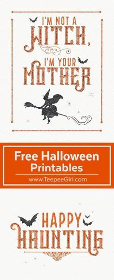 These free Halloween printables are the perfect way to decorate your space for Halloween! They come in two sizes (8x10 & 5x7) and are beautiful in a frame or just hanging up on the fridge. www.TeepeeGirl.com by alyssa