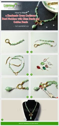 How to Make a Handmade Green Gemstone Bead Necklace with Glass Beads and Golden Beads