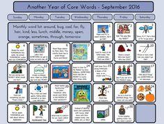 September 2016 Core Word calendar