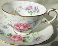 1950s ENGLISH BONE CHINA Tea Cup/Saucer,Floral Transfer,Gold Trim.Christmas Gift,Bridesmaid Gift,Housewarming Gift,Wedding Gift