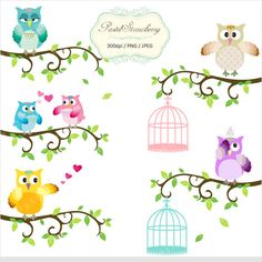 6 Owls & 6 Bird Cages - Personal Or Small Commercial Use Clip Art (P022). $4.00, via Etsy.