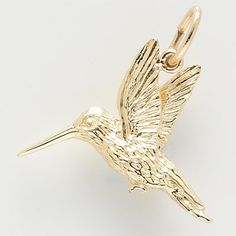 Hummingbird Charm $28.50 http://www.charmnjewelry.com/category/n250/gold-Animal_Charms.htm #Hummingbird #AnimalCharm #RembrandtCharms