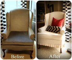 Great before and after. This is exactly what my chairs look like, except PINK! Same fabric, feet and shape.