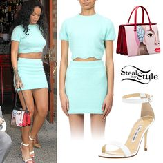 Rihanna ATTENDED the Roc Nation Sports one year anniversary luncheon in New York City a few days ago wearing a Kiko Mizuhara for Opening Ceremony Short Sleeve Knit Cropped Top (sold out) and MATCHING Knit Mini Skirt (sold out), a pair of Manolo Blahnik Chaos Sandals ($725.00) and a bag from the Prada Spring 2014 Collection (not available online). You can get similar fuzzy cropped TEESfrom American Apparel ($58.00) and similar sandals from JCPenney ($29.99).