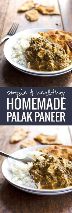 Simple & Healthy Homemade Palak Paneer - A delicious take on a favorite Indian dish. Can sub tofu for paneer Veggie Recipes, Indian Food Recipes, Vegetarian Recipes, Cooking Recipes, Healthy Recipes, Healthy Food, Healthy Indian Food, Alkaline Recipes, Tasty Meals