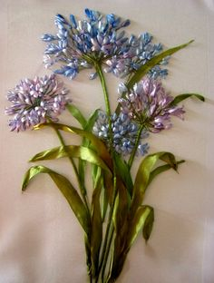 Ribbon embroidery - blue and purple flowers