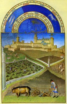 Medieval tools: Heavy wheeled plough (Duke du Berry, Books of Hours, c
