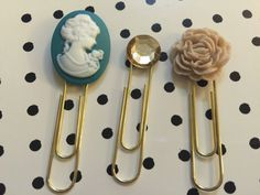 Teal Cameo Floral Set by BookmarkBitches on Etsy