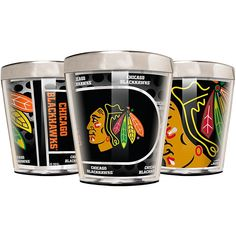 Great American Products Officially Licensed NHL 3-piece Acrylic & Stainless Steel Shot Glass Set - Chicago Blackhawks
