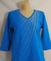 Christine Alexander Crystal spray turquoise v-neck shirt size S to XL and 1x to 3x