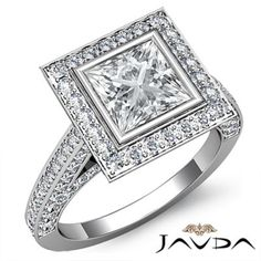 Princess Diamond Engagement Ring Certified by GIA, I Color & SI1 clarity, 14k White Gold (2.76 ct. Total weight.)