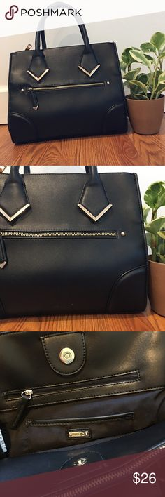 Black Structured Aldo Bag 💼 Classy and professional handbag by Aldo. Classic black with gold accents. Plenty of space, has zippered pocket and cell phone pocket. Lightly used and fantastic condition. Minor scuff on lower front. Aldo Bags Shoulder Bags