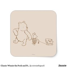 Classic Winnie the Pooh and Piglet 2 Square Sticker. Beautiful Disney merchandise to personalize. #disney #winniethepooh #pooh #disneystyle #personalize #shopping