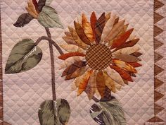 Hand Applique, Applique Quilts, Sunflower Quilts, Quilt Border, Robots, Tokyo, Border Ideas, Dreams, Quilting