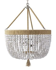 Strands of gorgeous beads with subtle gold veining bring an earthy glamour to any space. The sturdy steel frame is wrapped in natural hemp with a perfectly frayed tassel, adding to the rustic appeal. Shell Chandelier, Beaded Chandelier, Chandelier Lighting, Bedroom Lighting, Chandeliers, Cottage Lighting, House Lighting, Ceiling Lighting, Ceiling Fans