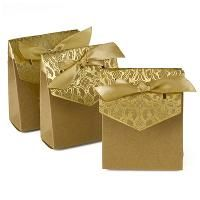 Naturally Vintage Tent Favor Boxes - Gold