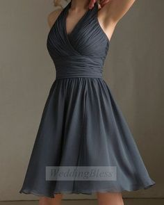 Dark Grey Bridesmaid Dress Charcoal V-neck Bridesmaid Dress with straps on Etsy, $88.00