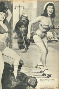 """Pin-Up model and Playboy magazine's """"Miss January 1955"""" Bettie Page roller skating."""