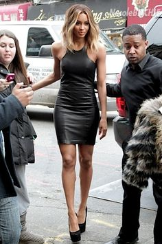 Hairspiration // ciara // long bob // leather dress // highlights // brown to blonde ombre // medium length hair