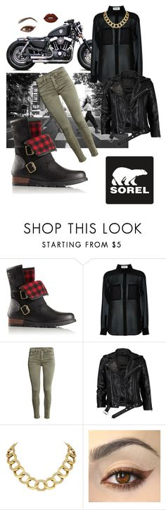 """""""Kick Up the Leaves (Stylishly) With SOREL: CONTEST ENTRY"""" by zazaya96 ❤ liked on Polyvore featuring SOREL, Harley-Davidson, Yves Saint Laurent, VIPARO, House of Harlow 1960, Lime Crime and sorelstyle"""