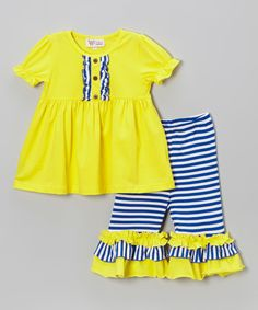 Look at this #zulilyfind! Yellow Tunic & Blue Stripe Capri Pants - Infant, Toddler & Girls by Whimsical by Molly Pop Inc. #zulilyfinds